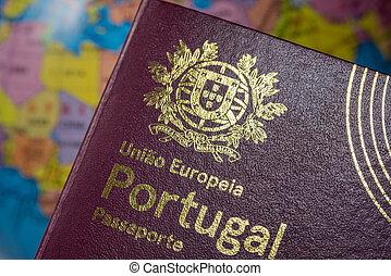 ヨーロッパ, インターナショナル, 背景, earth., 組合, 外国である, 習慣, passport., concept., ポルトガル語
