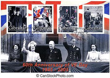 ヨーロッパ, サー, churchill, 切手, (1874-1965), 60th, ウィンストン, -, 記念日...