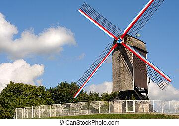 ヨーロッパ, ベルギー, bruges, 風車, bonnesiere