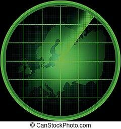 ヨーロッパ, レーダー, スクリーン, シルエット