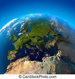 ヨーロッパ, 人工衛星, 光景, 高さ