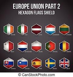 ヨーロッパ, 保護, 組合, 2, 旗, 部分, 六角形