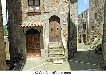 ヨーロッパ, 古い, 絵のよう, トスカーナ, pitigliano, 通り, 村, イタリア語