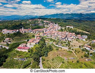 ヨーロッパ, 古代, 航空写真, イタリア, piemonte, masserano., 村, 小さい, 光景