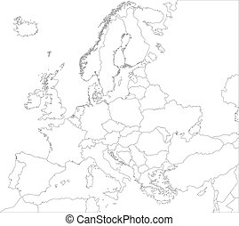 ヨーロッパ, 地図, アウトライン