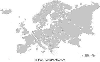 ヨーロッパ, 地図, イラスト, 灰色, ベクトル