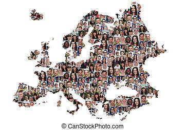 ヨーロッパ, 地図, グループ, 人々, multicultural, 若い, 統合, 多様性
