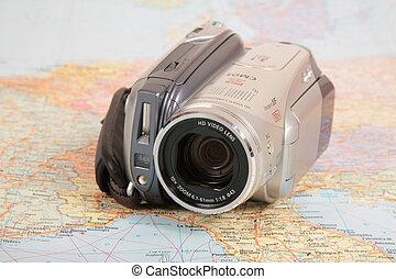 ヨーロッパ, 地図, ビデオカメラ