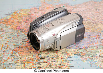 ヨーロッパ, 地図, ビデオcamcorder