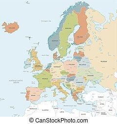 ヨーロッパ, 地図, ベクトル