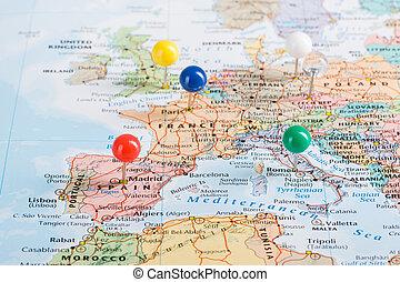 ヨーロッパ, 地図, 旅行, 計画, ピン, あなたの, trip.