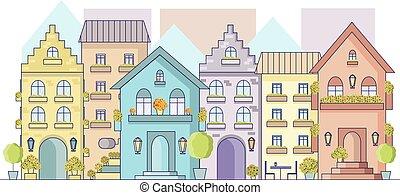 ヨーロッパ, 平ら, 建物, ベクトル, 古い, ファサド, 通り, 都市の景観, style., 光景