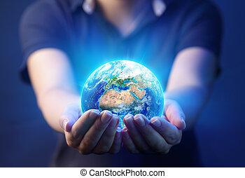 ヨーロッパ, 概念, 供給される, これ, -, イメージ, アフリカ, 惑星, レンダリング, 要素, 手を持つ, 地球, 3d, 日, nasa