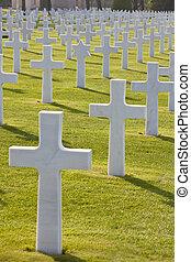 ヨーロッパ, 浜, 横列, 星, omaha, 墓地, 十字, colleville  - sur  - mer, ...