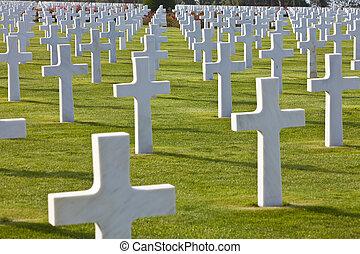 ヨーロッパ, 浜, 横列, omaha, 墓地, 十字, アメリカ人, フランス, colleville  - sur...
