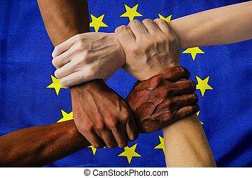 ヨーロッパ, 統合, グループ, 人々, multicultural, 隔離された, 若い, 旗, 多様性