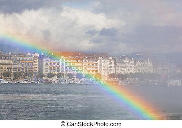 ヨーロッパ, 虹, ジュネーブ, lehman, 湖, 噴水, によって, スイス, 光景