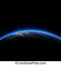 ヨーロッパ, 都市ライト, 夜