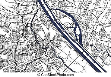 ヨーロッパ, 都市, オーストリア, ウィーン, ベクトル, 地図