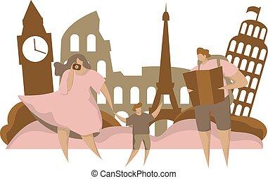 ヨーロッパ, backpack., wektor, 家族, 平ら, 特徴, 旅行, -, 休暇, イラスト, sight., ベクトル, 人, 観光事業, 漫画, 幸せ