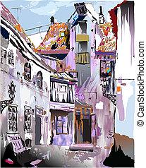 ヨーロッパ, collec, 古い, 中世, town.