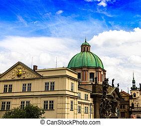 ヨーロッパ, strana, 中央である, st. 。, 屋根, 緑, ニコラス, 教会, 四分の一, プラハ, mala
