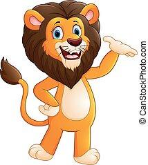 ライオン, カートン, ポーズを取る, 幸せ