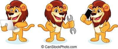 ライオン, ベクトル, ラップトップ, マスコット
