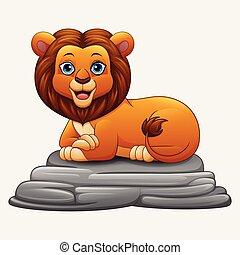 ライオン, モデル, 漫画, 岩