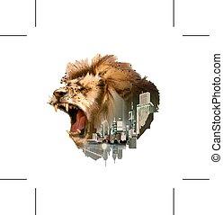 ライオン, 吠え声, 頭