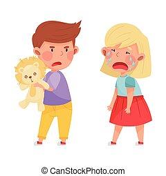 ライオン, 子供, agemate, 叫ぶこと, おもちゃ, 敵対的である, 怒る, ベクトル, 離れて, しかめっ面をしなさい, 取得, イラスト, 彼の