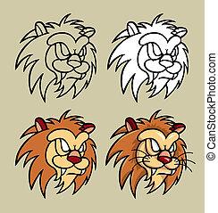 ライオン, 特徴, 頭, イラスト