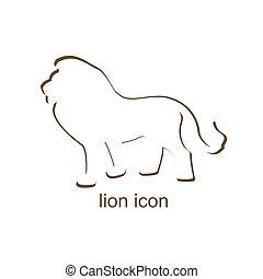 ライオン, 白い背景, アイコン