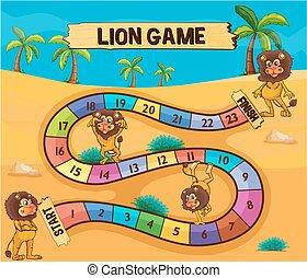 ライオン, 砂漠, テンプレート, boardgame