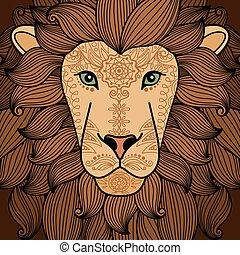 ライオン, 頭, ∥で∥, henna の 入れ墨, 要素