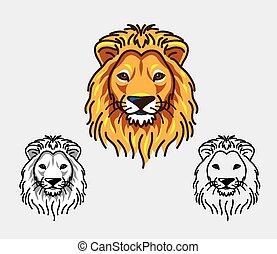 ライオン, 頭, イラスト