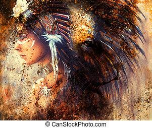 ライオン, indian, 頭飾り, 抽象的, 羽, 女, 色, collage., 身に着けていること