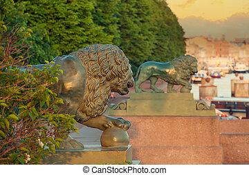 ライオン, st. 。, 古い, petersburg, 彫刻
