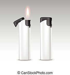 ライター, プラスチック, ベクトル, 炎, 黒, 白