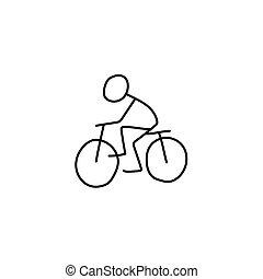 ライダー, 自転車, 棒 図, アイコン