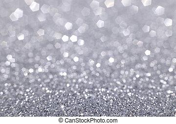 ライト, きらめく, クリスマス, 銀