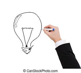 ライト, の上, ビジネスマン, 電球, 終わり, 図画