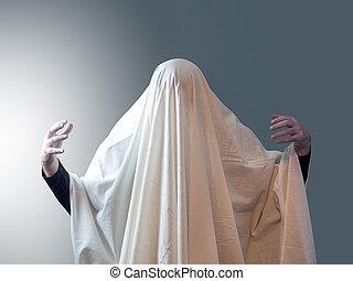 ライト, ひだのある布, 左, 彼の, に対して, 背景, 手, 幻影, それ, 下に, 人, から, 灰色, カバーされた, 引っ張られる, 白, のように