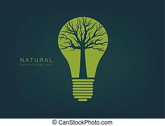 ライト, アイコン, 木, 緑, 電球