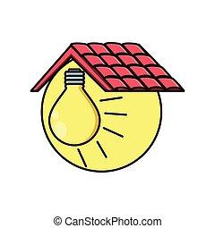 ライト, アイコン, 隔離された, 屋根, 電球