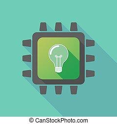 ライト, アイコン, cpu, 電球