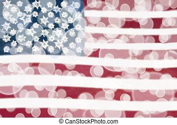 ライト, アメリカの旗, bokeh