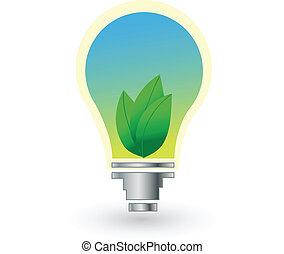 ライト, エコロジー, 空, leafs, 電球