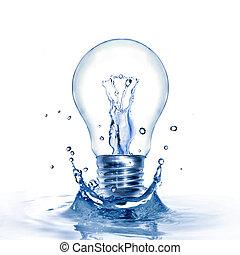 ライト, エネルギー, 隔離された, 水, はね返し, 電球, 白, concept.