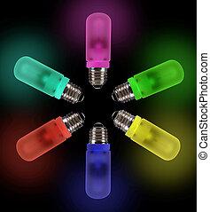 ライト, カラフルである, 電球